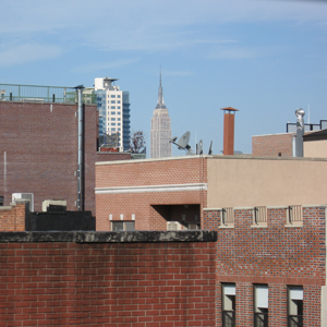 empire state building seen from window of 4d in williamsburg brooklyn